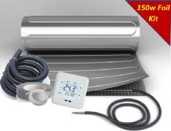 KIT - Cosy-Heat 150 Series Foil Under Wood, Laminate & Carpet Heating Mat INC Thermostat & Fixing Kit 150W per sqm