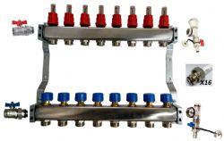 2 - 12 Port Cosy-Heat Complete Underfloor Heating Manifold - Stainless Steel
