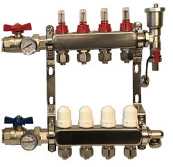 2 - 12 Port Cosy-Heat Complete Underfloor Heating Manifold - Stainless Steel